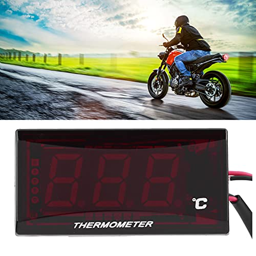 Qiilu Termómetro digital de la Motocicleta universal Medidor de temperatura de Agua para Racing Scooter(negro)
