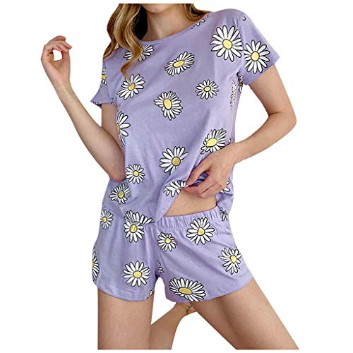 Janly Clearance Sale Pijama para mujer, para verano, para mujer, niña, manga corta, para uso doméstico, color negro y talla 5XL