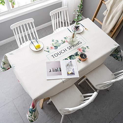 QKEMM Moderno Mantel Tipo Hule Encerado Rectangular Lino de Algodón Suave y Grueso Resistente Al Desgaste Impermeable Elegante Blanco 140×220cm