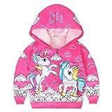 Blouson Licorne Fille Sweat à Capuche Veste Imprimé Unicorn Sweatshirt Zipper Manches Longues Manteau Automne Noël Pullover Enfants/130