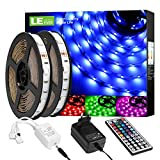 LE LED Strip Lichtband,10m (2x5m) RGB LED Streifen Band, 5050 SMD LED stripes, LED Lichterkette mit 44 Tasten Fernbedienung, verstellbare Helligkeiten...