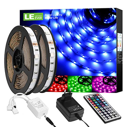 LE LED Strip Lichtband,10m (2x5m) RGB LED Streifen Band, 5050 SMD LED stripes, LED Lichterkette mit 44 Tasten Fernbedienung, verstellbare Helligkeiten RGB Farbwechsel Strip für Haus, Party, Bar, TV