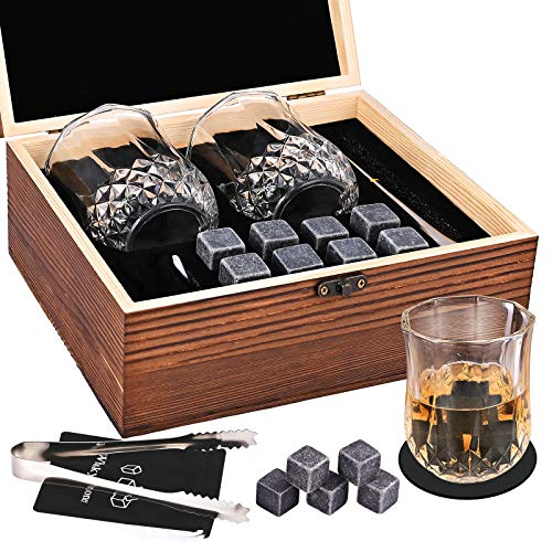 GOLDGE 14 Pezzi Whisky Stones Set di Regalo, 8 Cubetti di Ghiaccio Riutilizzabili + 2 Bicchieri da Whiskey + 2 Coaster + Pinza + Sacca, Pietre di Whisky con Cofanetto in Legno per Natale Regalo