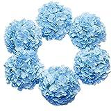 DuHouse Artificial Hydrangea Silk Flower Heads with Stem Fake Blue Hydrangea Bigger Flowers for Wedding Home Garden Centerpiece Pack of 6