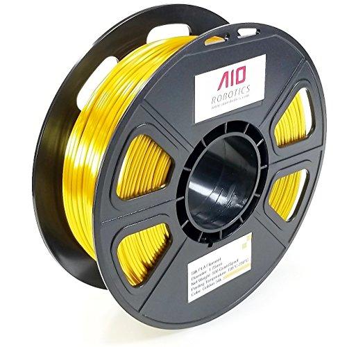 AIO Robotics Premium 3D Drucker Filament, PLA Silk, 0.5 kg Spule, Genauigkeit +/- 0.02 mm, Durchmesser 1.75 mm, Gold Seide