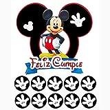 Topper Mickey Mouse para tarta de Cumpleaños para niños - Incluye (11pcs) 1 topper para tarta y 10 mini cake toppers para cupcakes. 100% Hecho a mano y diseño original