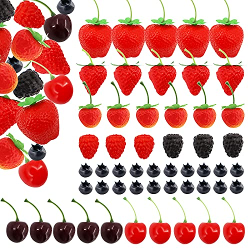52 PCS Artificial Fake Fruit, Includes Fake Strawberries Fake Blueberries Fake Raspberries Fake Cherries, Reusable Waterproof Plastic Cake Dessert Party Home Kitchen Decoration, Photography Props