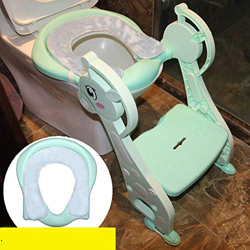 Échelle de Toilette Stable Antidérapant Conception Anti-éclaboussures Rembourré Réglable Convient à la Plupart des Toilettes,Green