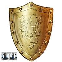 オールドメディーバルアートワークホームデコレーションメタルナイトシールドメタルコールドロールプレートソルジャーシールドリビングルームバーレストランレトロデコレーションH60CM、ゴールド