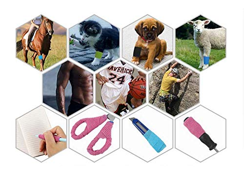 Cohesive Bandages, 6 Rolls Pet Vet Wrap Self Adhesive Bandage Non-woven Elastic Sports Bandages Cohesive Support Bandage Water Repellent Breathable for Wrist Ankle Sprains Swelling (6 Colour)