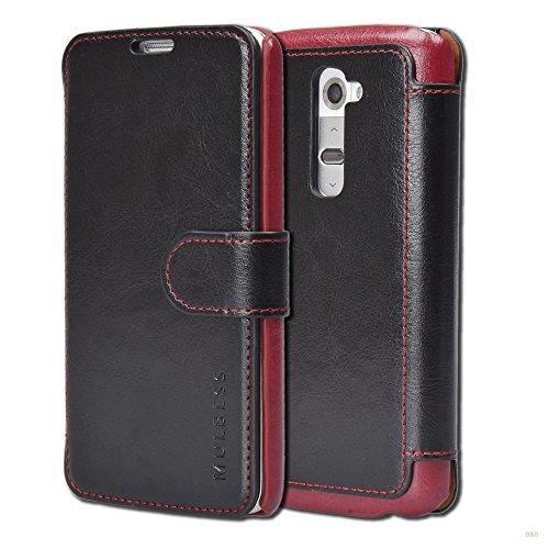 Mulbess Cover per LG G2, Custodia Pelle con Magnetica per LG G2 [Layered Case], Nero