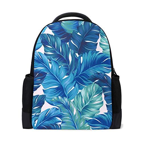 Mochila para ordenador portátil con hojas tropicales azules