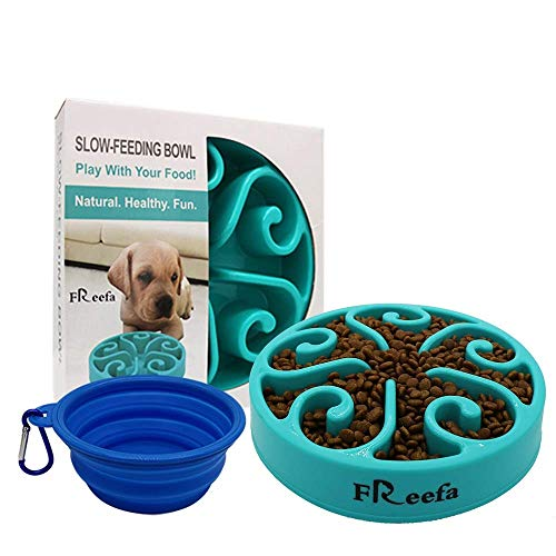 Freefa Slow Feeder Dog Bowl Bloat Stop Dog Food Bowl Maze Interactive Puzzle Non Skid, Come with Free Travel Bowl (Blue1)