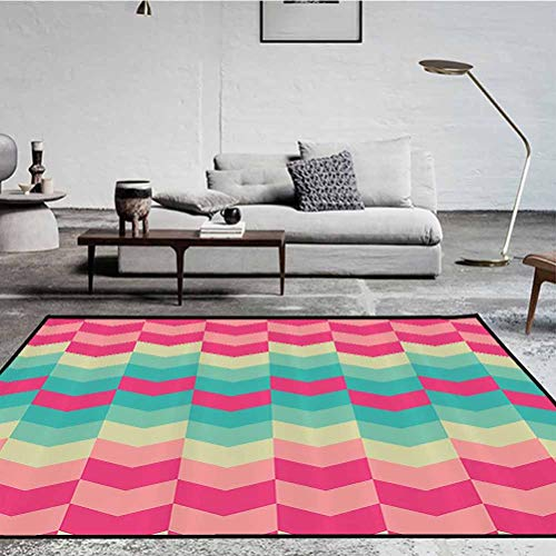 Geometric Decor Collection Polyester Pattern Rugs Easy to Clean Living Dining Room Rug Retro Pattern Mexican Floral Bohemian Trendy Contemporary Art Magenta Dark Turquoise Cream 6 x 2 ft