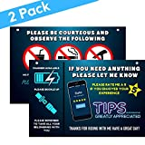 Uber Sign and Lyft Accessories for Car - Reversible Uber Signs for Car – Large 9x6 Inch Premium Thick Laminate 20 Mil Durable Backseat Headrest Display Cards (Pack of 2)
