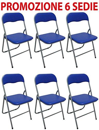 Savino Fiorenzo 6 sedie Sedia Poltrona Pieghevole Blu in Ferro e Metallo Imbottita per Sala Attesa Cucina Salotto Campeggio Bar Ristorante Catering