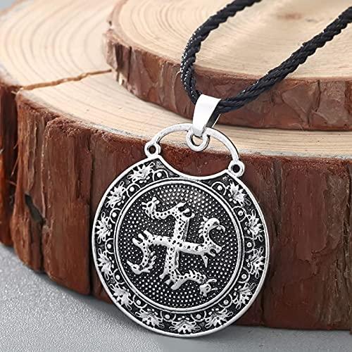 Astemdhj Collares para Hombre Colgantes Joyería Antiguo Símbolo Eslavo Talismán Vikingo Doble Dragón Colgante Amuleto Nórdico...