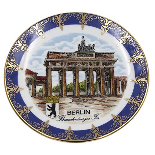 Müller Porzellan Wand-Teller Berlin Brandenburger Tor, blau Gold, 13cm, Sammelteller Deko-Teller Wand-Bild Wanddeko Wand-Kunst