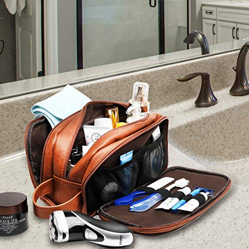 Leather Toiletry Bag for Men,Large Capacity Waterproof Travel Dopp Kit with Sturdy Handle,Travel Organizer for Toiletries, Travel Bag for Dad/Men/Husband