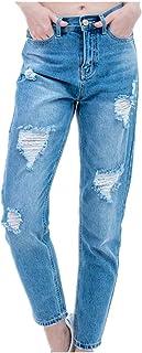 N\P Jeans Señoras Rasgados Jeans para Mujer Mujer Mamá Jeans Pantalones Novio Jeans Mujeres con Cintura Alta Empuje