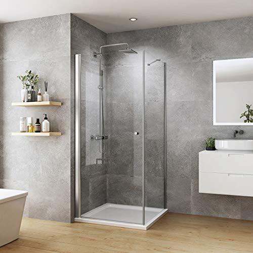 Duschkabine 90x90cm Eckeinstieg Duschabtrennung Pendeltür mit Seitenwand Duschwand Duschtür 6mm ESG Sicherheitsglas mit beidseitiger Nano Beschichtung Höhe 185cm
