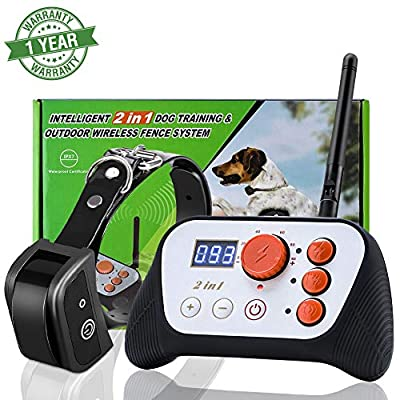 Aramox Electric Pet Containment System,IP 65 Waterproof 2 in 1 Dog Fence Wireless & Training Collar