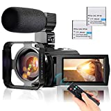 Video Camera Camcorder YouTube Vlogging Camera FHD 1080P 30FPS 24MP 16X Digital Zoom 3' LCD 270 Degrees Rotatable LCD Digital Camera Recorder with Microphone,2.4G Remote Control,2 Batteries