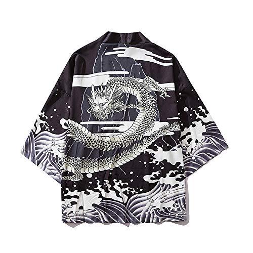 HAORUN Chamarra Estilo Kimono japonés para Hombre, impresión de dragón, Estilo Casual, Chaqueta de Punto Vintage Negro Negro (L
