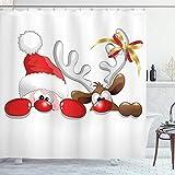 ABAKUHAUS Weihnachten Duschvorhang, Lustiges Sankt-Ren, mit 12 Ringe Set Wasserdicht Stielvoll Modern Farbfest & Schimmel Resistent, 175x200 cm, Zinnoberrot Karamell Weiß