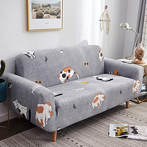 NLADTWLSD Funda de sofá de Alta Elasticidad, impresión Fundas para Sofa Antideslizante Cubierta para Sofa Protector para Sofás Lavable para el Salón (1 Asiento,Gris)