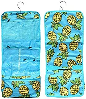 Best Large Pineapple Design Hanging Christmas Toiletry Cosmetic Roll Travel Case Cruise Dorm Accessories Bag Birthday Gift Idea for Mom Him Her Girl Kid Women 2018