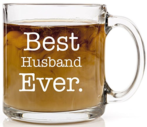 Funny Coffee Mug Best Husband Ever Anniversary, Birthday or Wedding Gift Coffee Cup 13 oz. Unique, Cool Present Idea For Father, Best Friend, Grandpa, Spouse or Dad from Wife or Kids. Clear Glass
