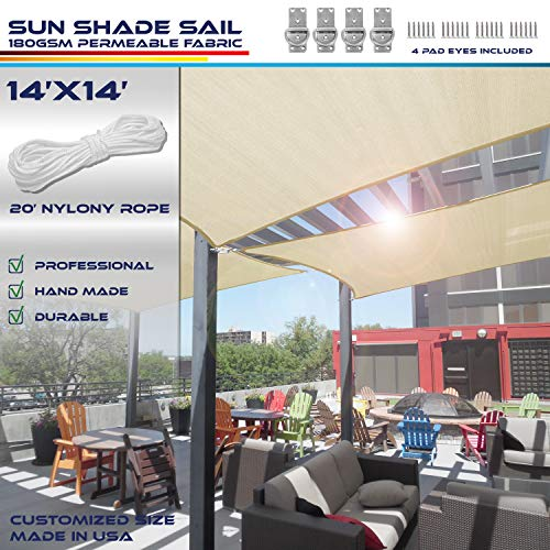 Best Shade Sails:Windscreen4less 14' x 14' Sun Shade Sail Square Canopy in Beige