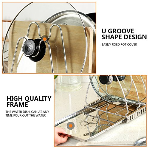Creatwo Adjustable Pot Lid Organizer Pan Drying Rack Cookware Organizer for Cabinet, Stainless Steel
