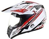 Qtech Casco Motocross Fuori Strada Enduro MX con Visiera MX Dual Touring - Rosso - XL (61-62 cm)