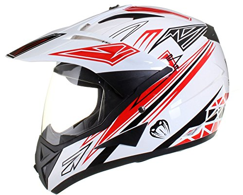 Qtech - Motocross-Helm mit Visier - für Offroad/Enduro/Touring Sport - Rot - XL (61-62 cm)