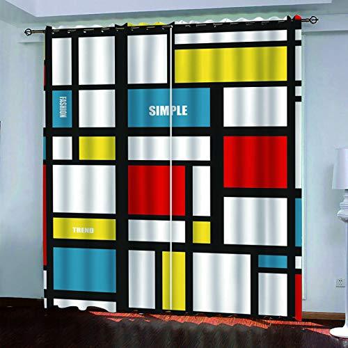 MMHJS Cortina De Impresión Digital Geométrica 3D Moderna Poliéster Grueso Impermeable Cortina De Aislamiento Acústico Dormitorio Sala De Estar Balcón Apagón Cortina Vertical (2 Piezas)