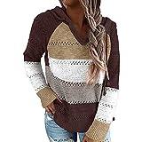 iMixCity Suéter con Capucha Ahuecado para Mujer Bloque de Color Casual Patchwork con Cuello en V Jerseys túnica Tops Sudadera (Café, XL)