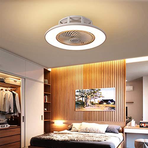 Lámpara De Techo LED Con Ventilador Invisible Moderno Ventilador Ultra Silencioso Lámpara 3 Luces Colores Y Velocidades Del Viento Regulable Mando A Distancia Dormitorio Sala Estar Ø56cm,Blanco