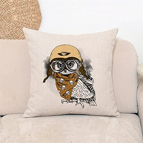 YINGZG Throw Pillow Cases 45x45cm 18x18 Inch Color Owl Cushion Covers Cotton Linen Square Decorative Pillowcases for Livingroom Sofa Bedroom with Invisible Zipper Z1614