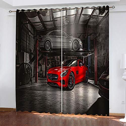 FOssIqU Cortinas de dibujos animados 46x72inch Coche rojo viento industrial Aislamiento acústico y prevención de ruido con cortinas de dormitorio perforadas, cortinas de decoración del hogar, 2 panele
