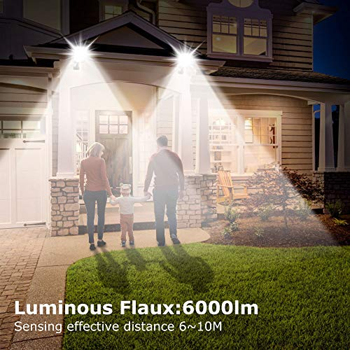 Outerman LED Solar Street Lights, 2 Pack Motion Sensor Security Wall Light, 120 LED 6000lm Outdoor Solar Lighting with 3 Modes for Garden, Street, Deck, Fence, Patio, Path