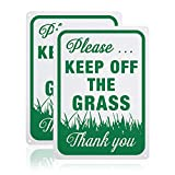 GLOBLELAND 2 Pack Please Keep Off The Grass Sign, 7x10 inches 40 Mil Aluminum Warning Signs for Indoor or Outdoor Use, Reflective UV Protected, Waterproof and Fade Resistance