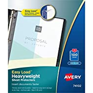 Avery Clear Heavyweight Sheet Protectors, Non-Glare, Easy Load, 100 Document Protectors (74102)