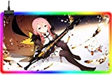 ZZMMUW Gaming Mouse Pads Anime Guilty Crown LED Keyboard Pad Smooth Surface Speed Large Enhanced RGB Gaming Mouse Pad 14 Lighting Modes 900x400mm XXL