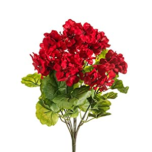 """Silk Flower Arrangements THREE 18"""" Artificial Geranium Flower Bushes in Red for Home, Garden Decoration"""