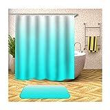 Bishilin Badematte Badewanne rutschfest, Hellblau Farbverlauf Toiletten Teppich 40x60...