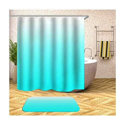 Bishilin Badematte Badewanne rutschfest, Hellblau Farbverlauf Toiletten Teppich 40x60 Polyester-Stoff 3D Vintage Duschvorhang 165x180