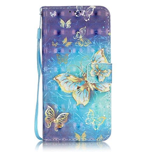 ISAKEN Custodia Cover Compatibile con Samsung Galaxy S7 Edge Elegante Borsa Custodia in Pelle PU Flip Portafoglio Protezione Caso con Supporto di Stand/Carte Slot/Strap/Chiusura - Glitter Farfalla