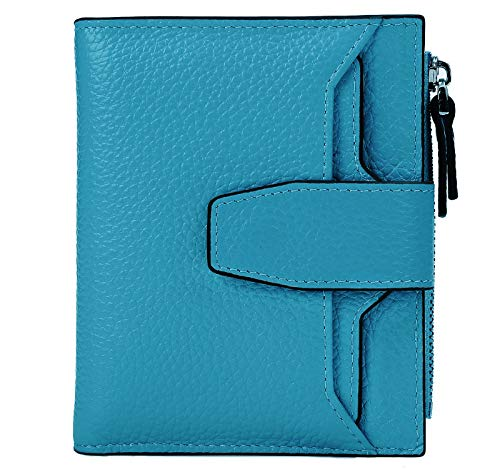 AINIMOER Women's RFID Blocking Leather Small Compact Bi-fold Zipper Pocket Wallet Card Case Purse(Lichee Sky Blue)